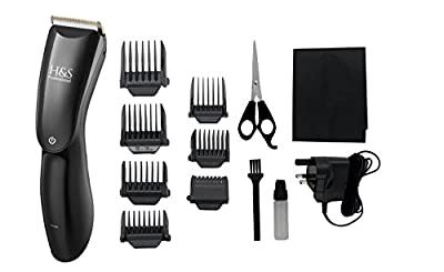 H&S Pro Cordless Hair Clippers with LED Display, Rechargeable Hair Trimmer, Haircut Kit with 8 Guide Combs