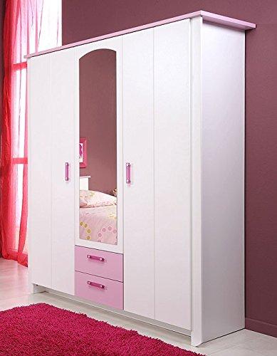 Kleiderschrank weiß rosa 3-türig, 136x181x56cm, Schlafzimmerschrank Drehtürenschrank Beauty 10