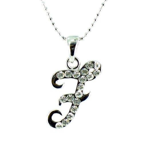 Claro Cristal de Plata Fancy cursiva collar inicial–F