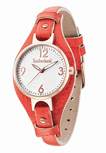 Timberland Women's Quartz Watch with Silver Dial Analogue Display and Orange Leather Strap 14203LSR/01