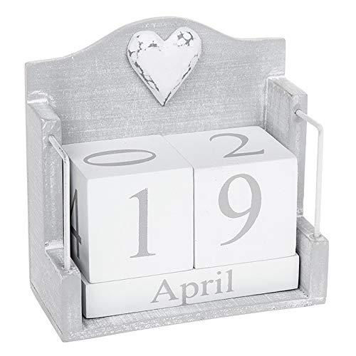 Joe Davies Provence - Calendario perpetuo Grigio con Decorazione a Forma di Cuore in Stile Shabby Chic, 12 x 12 x 6 cm