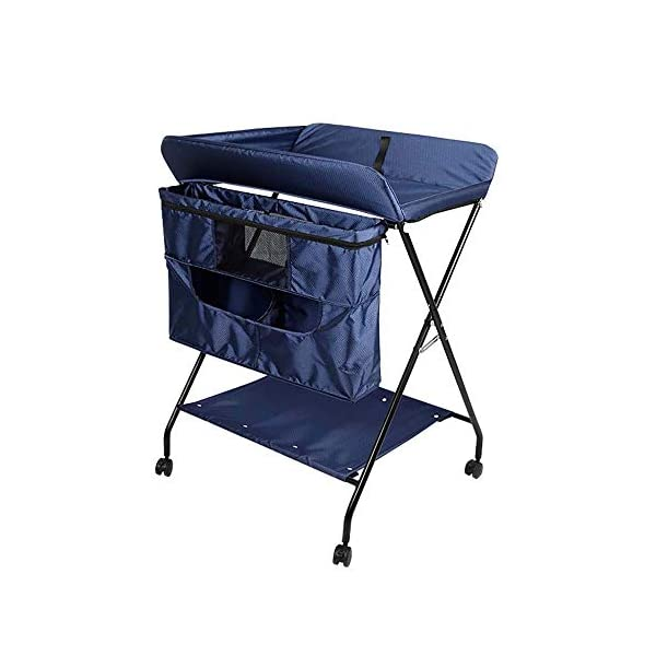 MUBAY Home Care Folding Table With Storage Basket and Shelf Baby Care Table, Baby Changing Table Baby Bathing Table Massage Touch Table Can Be Folded (Color : Blue) MUBAY Infant Changing Table Material: PU Oxford cloth + iron pipe. Baby Changing Table can be used as baby massaging table as well. It offers the comfort and practicality. It is designed at the proper height of parent to prevent mom's back aches and pains from kneeling or bending when changing diapers to babies. It has open shelving which adds extra security. Changing Diaper Station Stable Construction - Non-skid feet covers and a sturdy frame keep the table stable and prevent movement. All our products are designed with the safety of your little ones in mind. 1