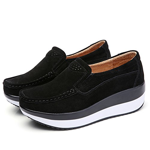 Yiiquan Femme Mocassins Loisirs Confort Chaussures Loafers Plateforme Caché Talon Coin Baskets De Mode Chaussures Noir