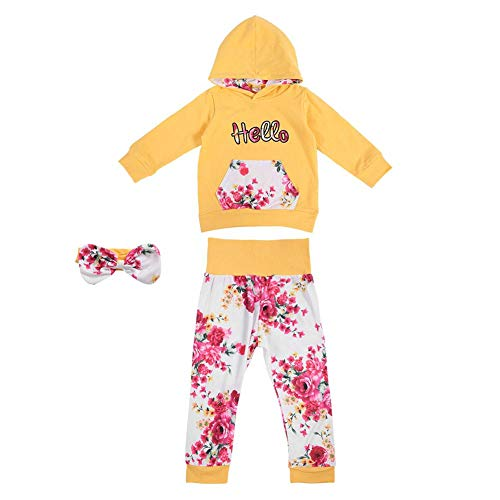 Cutie 3 Stück (3 Stücke Outfits Set Baby Kleidung Set Kleine Cuties Langarm Blumendruck Hoodie Tops Lange Hosen Hose mit Känguru Tasche Stirnband für Party(110))