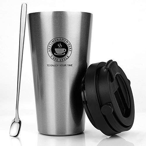 MojiDecor Edelstahl Kaffeebecher Thermobecher mit Schraubdeckel und Kaffeelöffel, Isolierbecher 500ml Coffee to go Autobecher Trinkbecher für unterwegs, Travel Mug BPA Frei, Leicht & Auslaufsicher