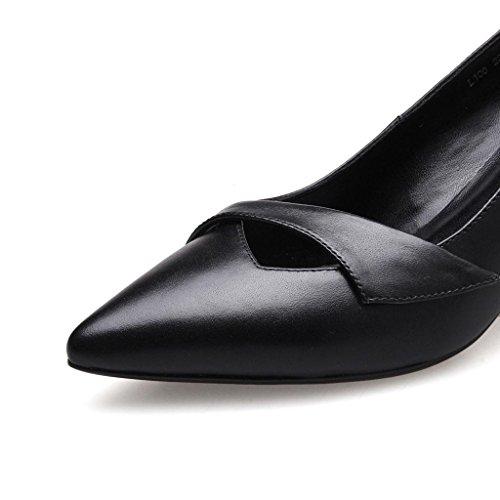W&LMvera pelle Scarpe Donna bocca superficiale scarpe donna appuntito scarpe basse cavo fine con scarpe col tacco alto Black