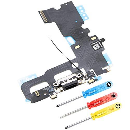 MMOBIEL Connecteur Dock de Rechange Compatible avec iPhone 7 (Noir de Jais) + Kit d'Outils Inclus