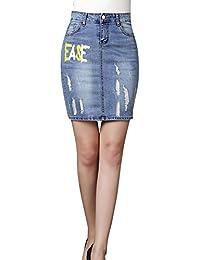 Slim Falda De Mezclilla Para Mujer Estampado Agujeros Rotos Falda De  Mezclilla Corta c95fc77e6120
