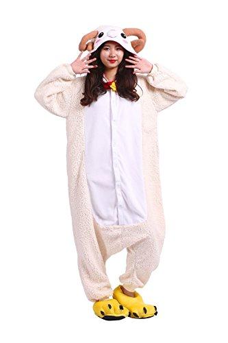 DarkCom Frauen Kigurumi Schlafanzug Unisex Anime Onesies Jumpsuits Halloween Nachtwäsche Schafe Medium