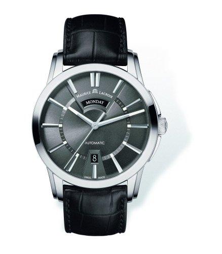 montre-automatique-maurice-lacroix-pontos-day-date-acier-inoxydable-gris