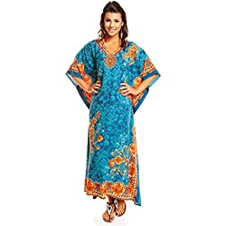New Ladies Plus Size Maxi Tribal Ethnic Print Tunic Kaftan Evening Party Size 16 18 20 22 24 26 28 30 32