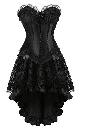 Grebrafan Damen Halloween Push Up Party Kleid Corsage mit Spitze Asymmetrisch Hoch Niedriger Rock (EUR(40-42) 2XL, Schwarz)
