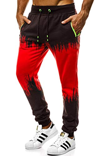 Cassiecy Herren Hosen Jogginghose Herren Sportshose Traininghose Jogger Hose Fitness Sweatpants Freizeit Lang Hosen(rd,XL)