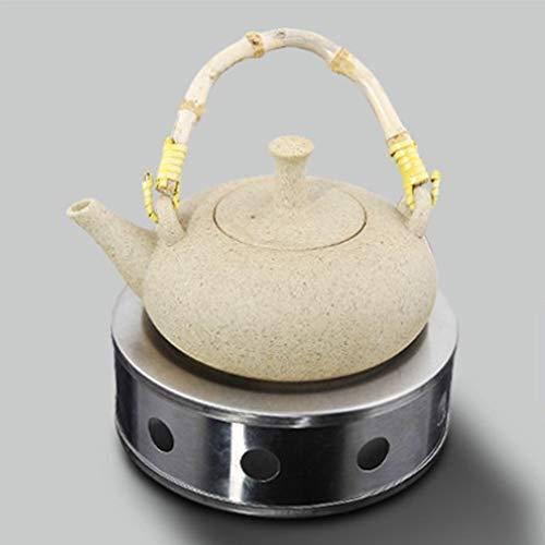 Calentador de tetera, acero inoxidable, estilo moderno, duradero, resistente al óxido, base de vela, calentador de tetera redondo, salvamanteles, portátil, seguro, para café y té, plata, Tamaño libre