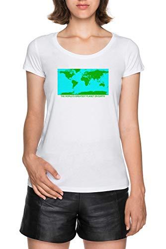 Das Welten Größte Planet Auf Erde Damen Weiß T-Shirt Größe L Women White Tee Size L