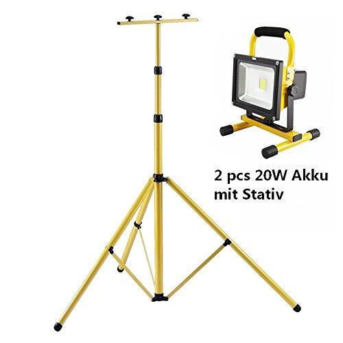 MCTECH 2 * 20W Gelb Akku LED Floodlight IP65 Warmweiss mit Teleskop-Stativ Baustrahler (Stativ+2 * 20W)
