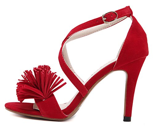 YE , Bride cheville femme Rouge