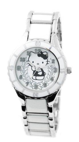 Hello Kitty 24273 - Reloj infantil de cuarzo con correa de plástico blanca