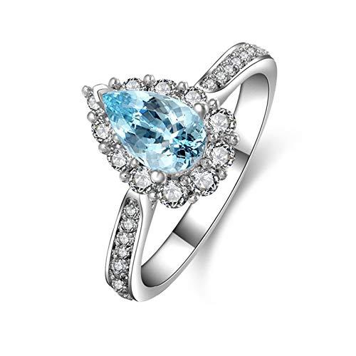 KnSam Damen-Ring 925 Sterling Silber Hochzeitsringe Topas Österreich Zirkonia Antragsring Silberring für Frau Mädchen Ringgröße 57 (18.1) Modeschmuck