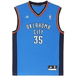 adidas Oklahoma City Thunder Kevin Durant NBA Replica - Camiseta din mangas de baloncesto, color azul / naranja / blanco, talla L