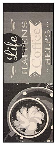 Bavaria-Home-Style-Collection Küchenläufer Läufer Teppich Grau Tasse Coffee Life Größe 67x180 cm - modern - Motiv Kaffee - Teppiche - Kitchen Deko - Flur - Esszimmer -