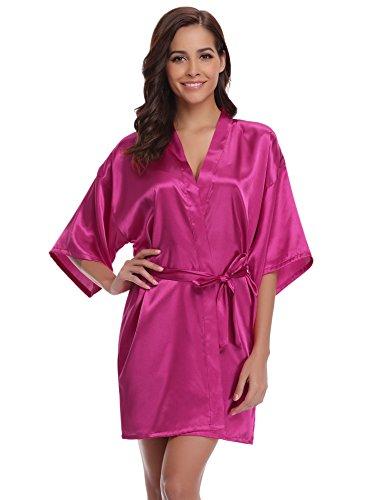Aibrou Damen Kimono Morgenmantel Bademantel Kurz Schlafanzug Nachtwäsche Satin V Ausschnitt mit Gürtel (XXL, Rosarot)