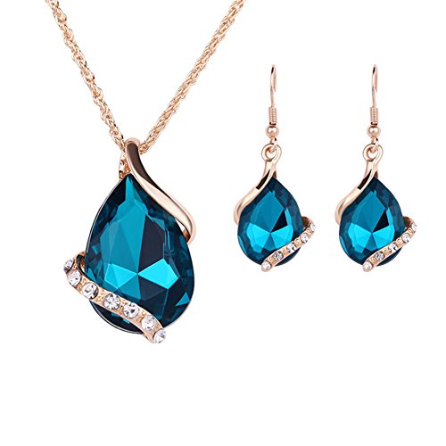 Lovinda Girl Frauen Goldene Silber Überzogene Halskette Ohrring Set Ziemlich Blau Wassertropfen Zirkon Schlüsselbein Kette Ohrring Set Günstige Schmuck-Set für Freundin x 1 Set