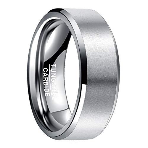 Natur Fashion - Wolfram Ring 8mm Silber Herren Damen Matt Basic mit Polierten Rändern für Hochzeit Verlobung Büro Alltag Größe 59 (18.8)