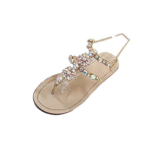 WWricotta Womens Summer Flat Shining Rhinestones Chain Sandals T-Strap Comfortable Shoes(Gold,45)