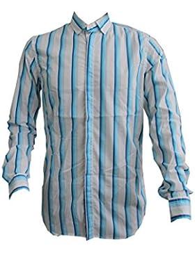 [Sponsorizzato]Paolo Pecora Camicia BottoM Down Bianca con Righe Verticali Azzurre/Blu. Tg. M Dimensione Collo 15 3/4 (40)