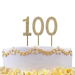 Gifts 4 All Occasions Limited SHATCHI-803 - Decoración para tarta (número 100), diseño de diamantes, color dorado