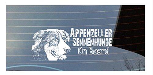 Appenzeller Sennenhunde On Board Auto Fenster Hund Aufkleber–weiß (Pfote Drucken Haustier-schüssel)