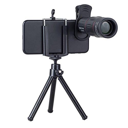 heacker APEXEL APL-T18XZJ Universal-18X Teleskop Zoom Handy-Objektiv für iPhone Samsung Smartphones Clip Kameraobjektiv mit Stativ