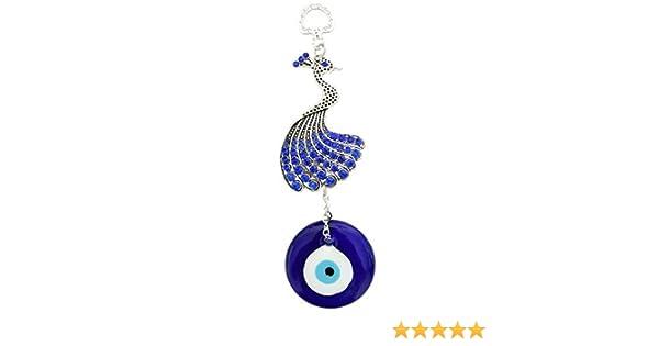 MEH1326 Mehrunnisa Turkish Evil Eye Peacock Feng Shui Good Luck Charm Hanging In Glass