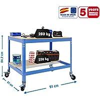 Banco de trabajo con ruedas BT0 Azul/Madera Simonrack 957x910x610 mms 280 Kgs de capacidad total al llevar ruedas