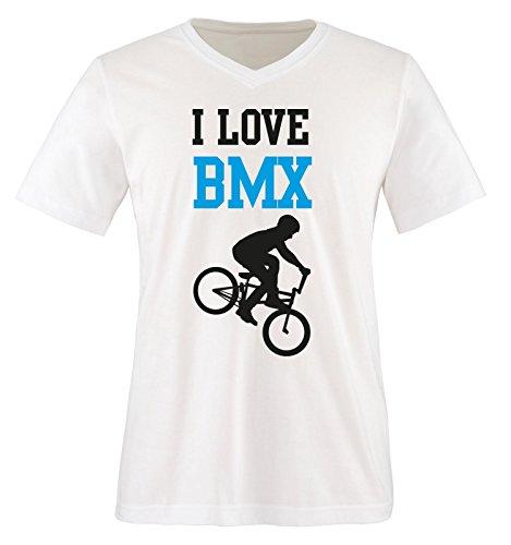 I Love BMX - Herren V-Neck T-Shirt - Weiss/Schwarz-Blau Gr. L