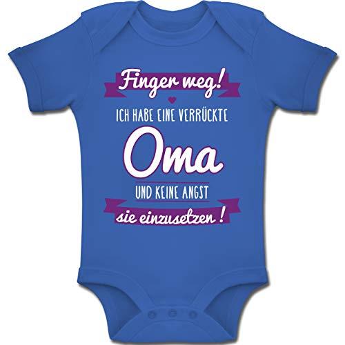 Shirtracer Sprüche Baby - Ich Habe eine verrückte Oma Lila - 6-12 Monate - Royalblau - BZ10 - Baby Body Kurzarm Jungen Mädchen (Keine Kleidung-junge Und Mädchen)