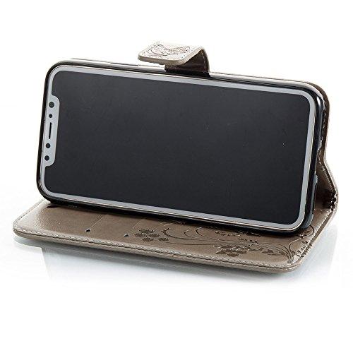 Horizontale Folio Flip Stand Muster PU Leder Geldbörse Tasche Tasche mit geprägten Blumen & Lanyard & Card Slots für iPhone X ( Color : Black ) Gray