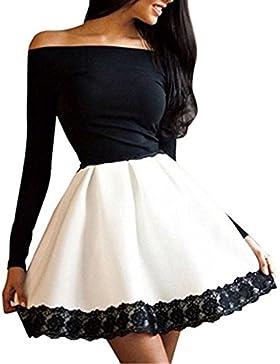Happyelf Elegante Sexy manica lunga moda abito corto sera del partito+fazzoletto libero