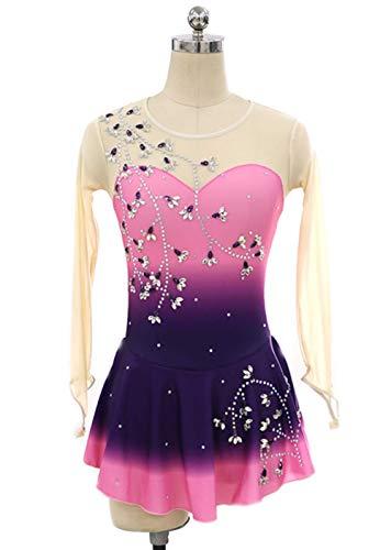 Rollschuhkleid Eiskunstlauf-Kleid Für Mädchen Und Frauen, Handarbeit Eislauf Wettbewerb Kostüm Langärmelige Eislaufen Trikots Mit Gute Qualität Kristallen, Farbverlauf,14