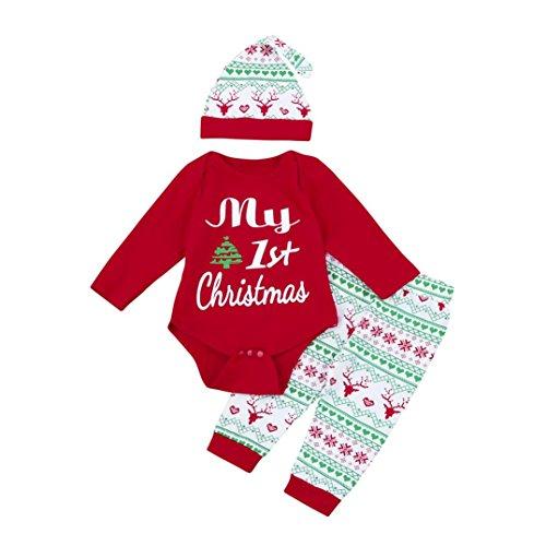 Weihnachten Babykleidung, Honestyi Baby Mädchen/Junge Spielanzug + Hose + Hut Weihnachten Outfits Set Kleidung 3Pcs (Rot, 6M/70CM) (Weihnachts-outfits Mädchen Jungen)