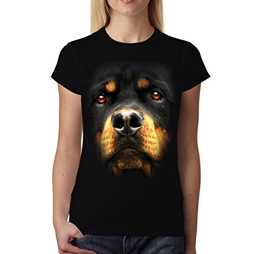 Rottweiler Perro Animales Mujer Camiseta Negro M
