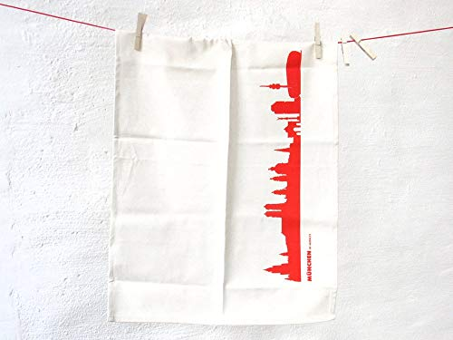 Torchon Munich en coton bio - Coloris différents - City Towel de 44spaces Natur/Rot