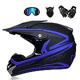 CHEN Q Motorrad-Sturzhelm, Motorradcrosshelm, Motocross-Helm mit Brille for Männer und Frauen...