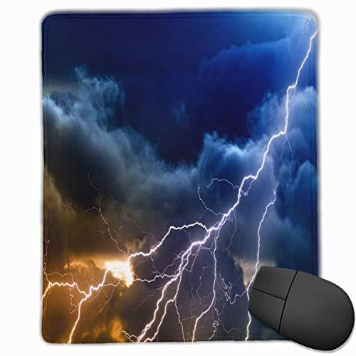 Sky Thunder Storm Regen Blitzqualität Komfortable Game Base Mauspad mit genähten Kanten Größe 11,81 * 9,84 Zoll -
