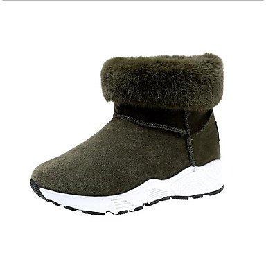 Toe Casual Verde Stivali Di Stivaletti Nero Verde Grigio Boots Pu SANMULYH Basso Snow Round Scarpe Tacco Stivaletti Donna Winter Abbigliamento qWZHv