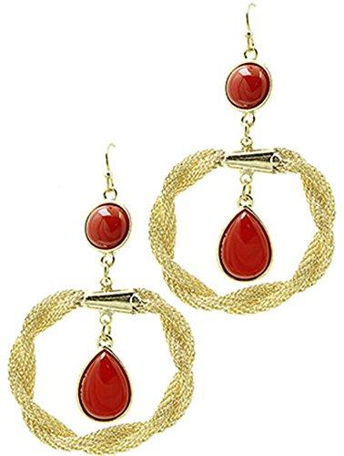 Paio di orecchini da donna in acciaio{1} beyoutifulthings giallo anello ritorto stretta, rete e pietre in acrilico rosso lunghezza 7 cm