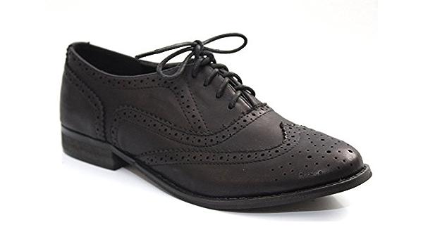 Enfants Filles Noir Femmes Formel Lacets École Richelieu à Bureau Chaussures Tailles UK 10-1