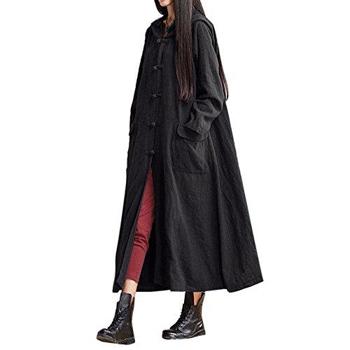 BBring Damen Mode Plus Größe Hooded Casual Leinen Lose Lange Maxi Kleid Lange Ärmel Kleid Mantel Jacke (2XL, Schwarz) (Kaschmir Leinen-strickjacke)