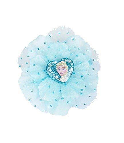 SIX Kids Disney Frozen Haarspange, Haarklammer, Haarschmuck, ELSA Herz, Tüll Blume, Glitzer, Kostüm, Karneval, blau (304-486)